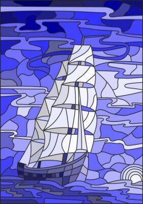 Adesivo Ilustração, manchado, vidro, estilo, sailboat, contra, céu, mar, configuração, sun.Blue, versão