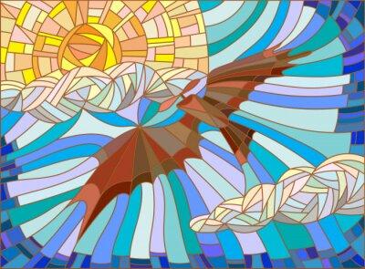 Adesivo Ilustração, manchado, vidro, estilo, vindima, aeronave, céu, Nuvens, sol