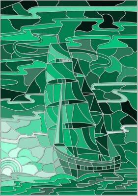 Adesivo Ilustração no estilo do vitral com o sailboat de encontro ao céu, ao mar e ao sol de ajuste.