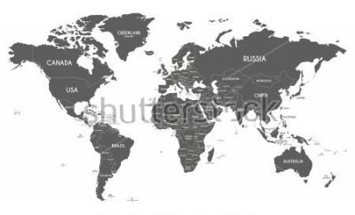 Adesivo Ilustração política do vetor do mapa do mundo isolada no fundo branco.