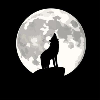 Adesivo Ilustração Praça de lobo uivando para lua.