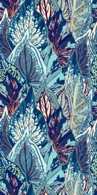 Adesivo Ilustração sem costura do vetor da folha azul