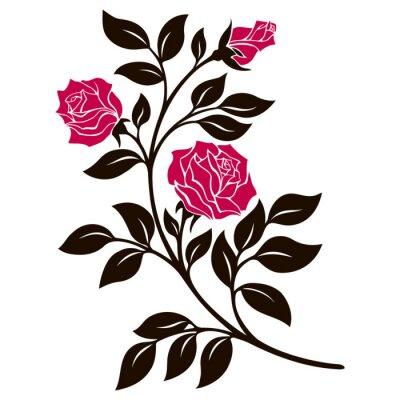 Adesivo Ilustração vetorial, elemento de decoração, preto e branco ramo de rosa com flores vermelhas