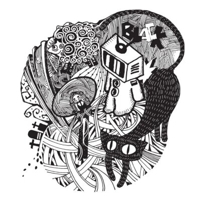 Adesivo Imagem do estilo esboçado moderna de Bad Dream