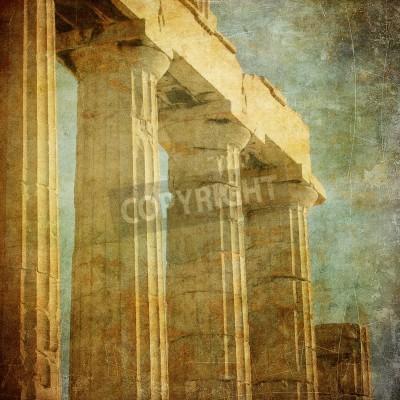 Adesivo Imagem do vintage de colunas gregas, Acrópole, em Atenas, Grécia