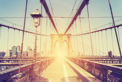 Adesivo Imagem estilizado do vintage da ponte de Brooklyn, NY.