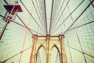 Adesivo Imagem tonificada retro da ponte de Brooklyn, NYC.
