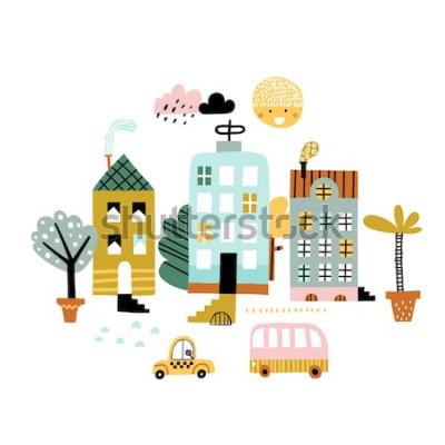 Adesivo Impressão da cidade dos desenhos animados. Ilustração vetorial infantil com arranha-céus, edifícios e carros. Design para cartaz, cartão, bolsa e camiseta, capa. Cores pastel. Estilo escandinavo.