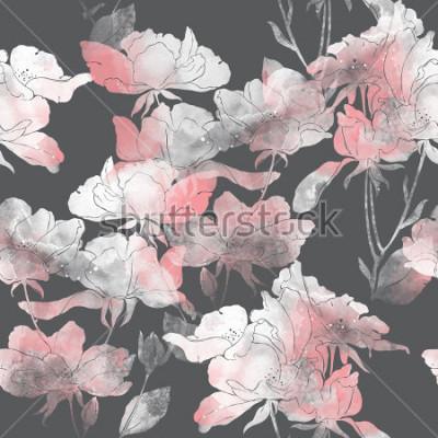 Adesivo imprime flores e folhas de rosa selvagem. mão pintada sem costura padrão. desenho digital e textura da aguarela. fundo para decoração e design têxtil. papel de parede botânico. mídia mista. quadro flo