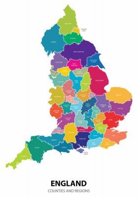 Adesivo Inglaterra Mapa com Regiões