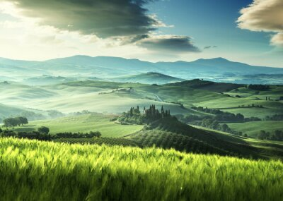 Adesivo Início da manhã de primavera na Toscana, Itália