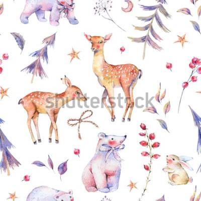 Adesivo Inverno aquarela vintage padrão sem emenda com ursos polares bonitos, veados, castanho, lebre e floresta mágica sobre fundo branco, decoração de Natal, ilustração de férias dos desenhos animados
