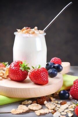 Adesivo Iogurte, muesli, macio, fruta
