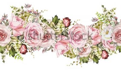 Adesivo isolado Fronteira sem costura com flores cor de rosa, folhas. vintage aquarela floral padrão com folha e rosa. Cor pastel. Borda floral sem emenda, banda para cartões, casamento ou tecido.