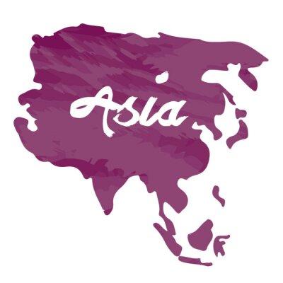 Adesivo Isolado, mapa, de, Ásia, ligado, Um, branca, fundo, vetorial ...