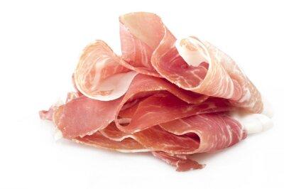 Adesivo Italian prosciutto crudo ,raw ham leg sliced on white