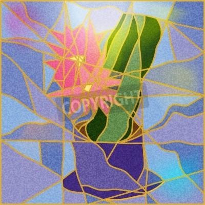 Adesivo Janela de vitral que descreve uma ilustração da flor