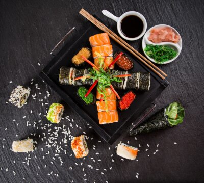 Adesivo Japanese seafood sushi set