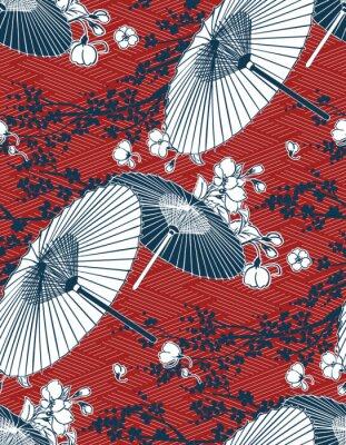 Adesivo japanese traditional vector illustration sakura umbrella pattern red