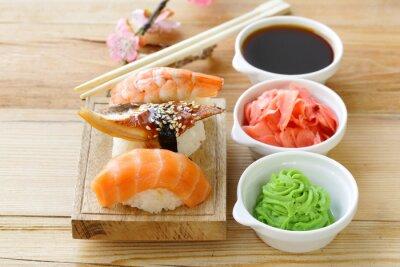 Adesivo Japonês, tradicional, alimento, sushi, salmão, atum, camarão