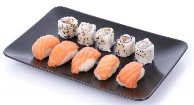 Adesivo Japoneses, sushi, jogo, pretas, prato