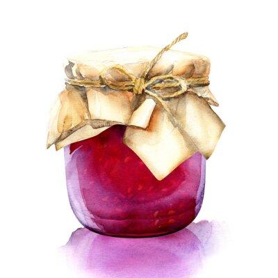 Adesivo jar aguarela com uma bagas atolamento vermelho