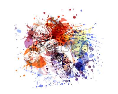 Adesivo Jogador de futebol americano da ilustração de cor do vetor