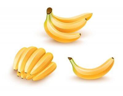 Adesivo Jogo de frutas isoladas da banana. Ilustração de Eps10.