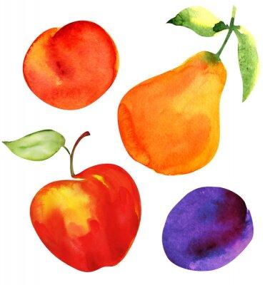 Adesivo Jogo de frutas. Maçã, pêra, ameixa e damasco.