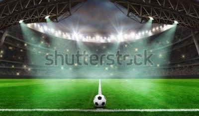 Adesivo jogo de futebol começa - bola de futebol no estádio