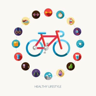 Adesivo Jogo do esporte design plano, fitness e ícones de estilo de vida saudáveis