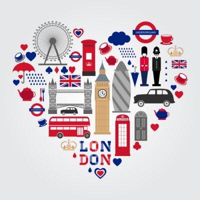 Adesivo Jogo Dos Símbolos Do Lareira De Londres. Colecção de ícones do Reino Unido.