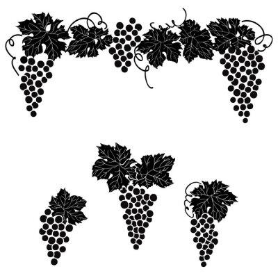 Adesivo Jogo gravado uvas das decorações do elemento do ornamento da uva da videira.