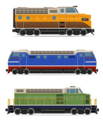 Adesivo Jogo ícones ferrovia locomotiva trem ilustração vetorial