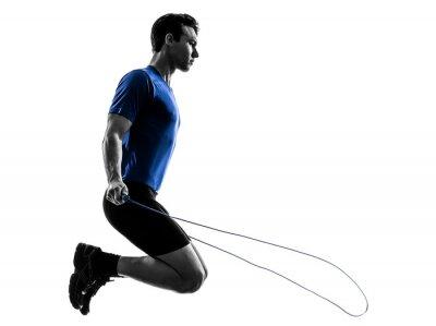Adesivo jovem exercitar silhueta pulando corda