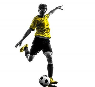 Adesivo jovem jogador de futebol brasileiro de futebol que retrocede silhueta