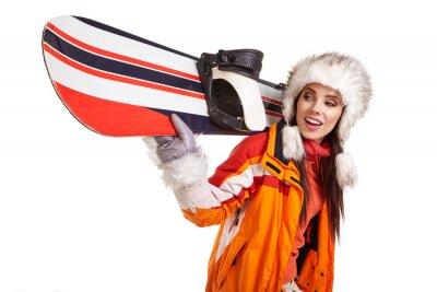 Adesivo Jovem, mulher, ficar, snowboard, isolado, branca
