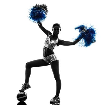 Adesivo jovem silhueta cheerleader