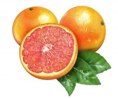 Adesivo Juicy fresh of grapefruit on whtie background
