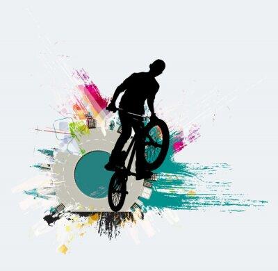 Adesivo Jumper de bicicleta, fundo de esporte