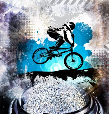 Adesivo Jumper de bicicleta masculino jovem. Estilo de vida saudável