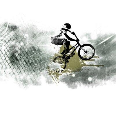 Adesivo Jumper de bicicleta masculino jovem. Estilo de vida saudável.