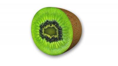 Adesivo Kiwi em fatias, frutas cortadas ao meio isolado no fundo branco