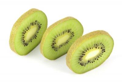 Adesivo Kiwi fruit sliced segments isolated on white background
