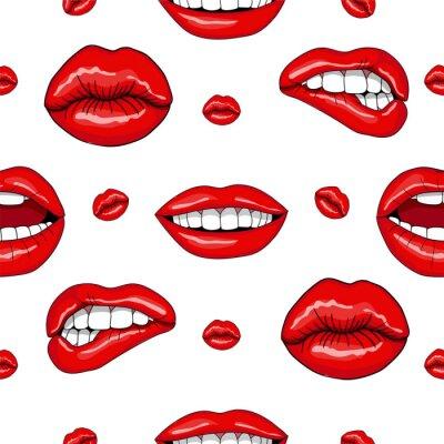 Adesivo Lábios padrão sem emenda no estilo retro pop art