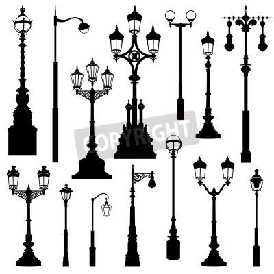 Adesivo Lâmpada de rua definido. Iluminação retro coleção.