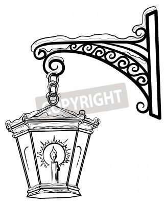 Adesivo Lâmpada de rua Vintage brilhante na neve, pendurado em um suporte decorativo. Contours.
