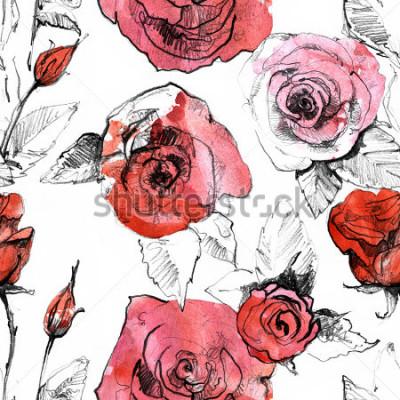 Adesivo Lápis, aquarela mão desenhada rosa vermelha realista flor padrão sem alteração. Ilustração botânica da pintura da arte. Projeto vintage para caderno, livro de viagens, cartão postal, convite, tec