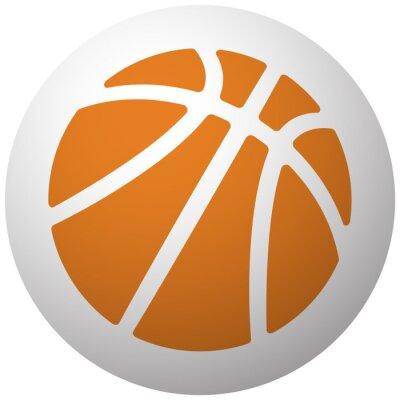 Adesivo Laranja, basquetebol, ícone, esfera, isolado, branca, fundo
