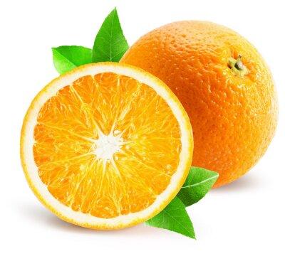 Adesivo Laranja com metade da laranja isolado no fundo branco